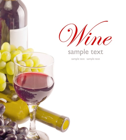 wine and dine: a glass of red wine and grape over white (with sample text)  Stock Photo