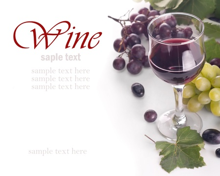 sample text: a glass of red wine and grape over white (with sample text)  Stock Photo