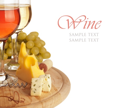 cheese board: Cheese, white and red wine, isolated on white background