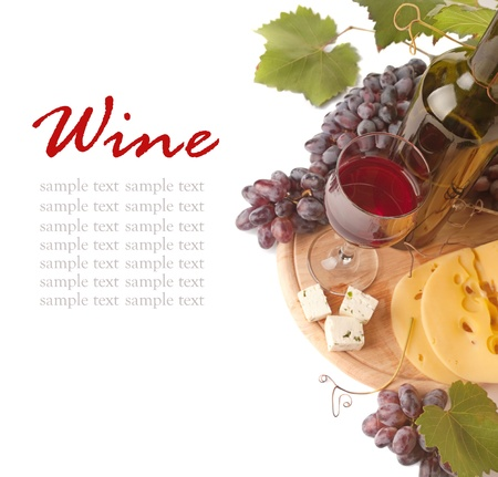 Cheese  and red wine, isolated on white background Stock Photo - 10600113