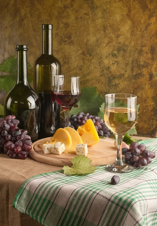 White wine still life in vintage style  photo