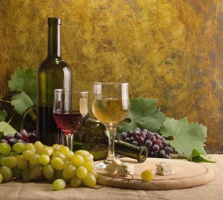 White wine still life in vintage style