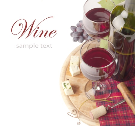 cheeseboard: Cheese and red wine, isolated on white background