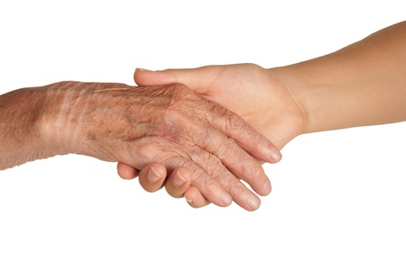 consoling: Old and young hands