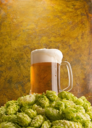 Beer with hops  photo