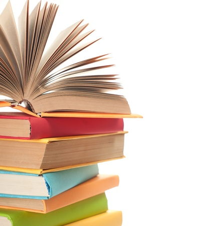 close up of stack of colorful books on white background Stock Photo - 10600164