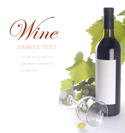 wine and dine: Ripe grapes, wine glass and bottle of wine Stock Photo