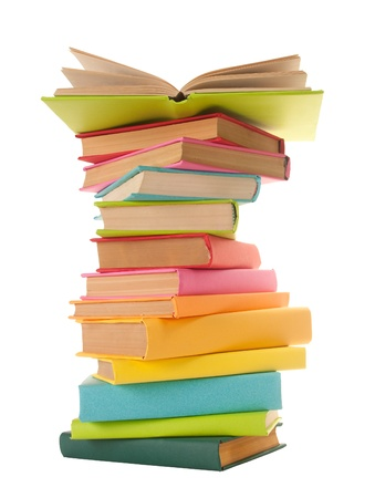 close up of stack of colorful books on white background  Stock Photo - 10939513