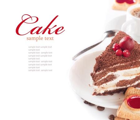 postres: Primer plano de taza de pastel de caf� y chocolate