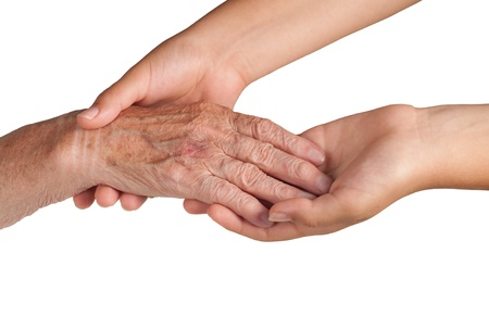 young and old hand on a white background Stock Photo - 10941988