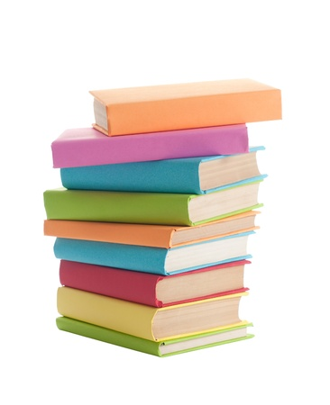 close up of stack of colorful books on white background Stock Photo - 10941774