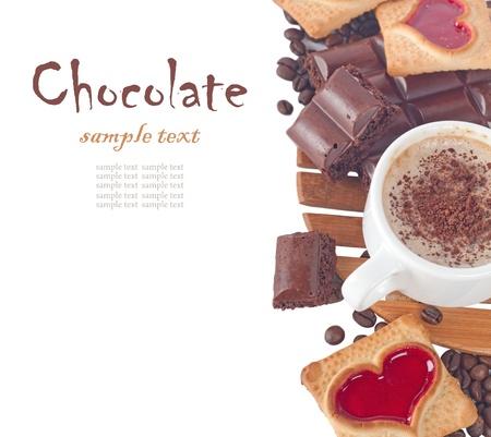 Close-up van kopje koffie en chocolade (makkelijk te verwijderen tekst) Stockfoto