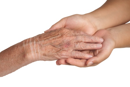 young and old hand on a white background