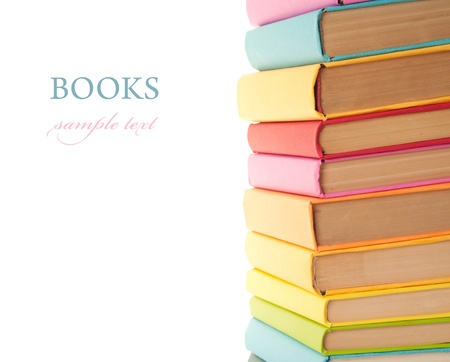 close up of stack of colorful books on white background Stock Photo - 10942026