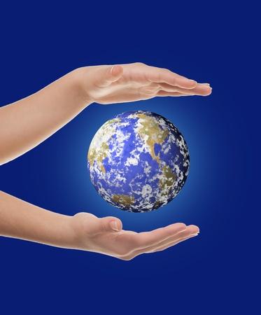 hand holding earth  photo