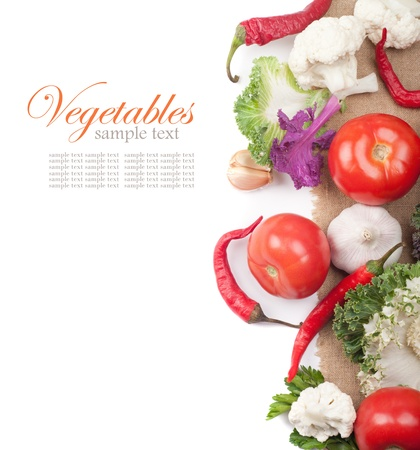 Fresh vegetables on the white photo