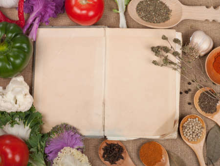 old paper for recipes and spices  photo
