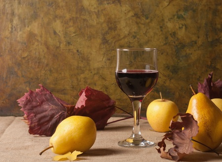 vine pear: still life with glass of red wine and fruit