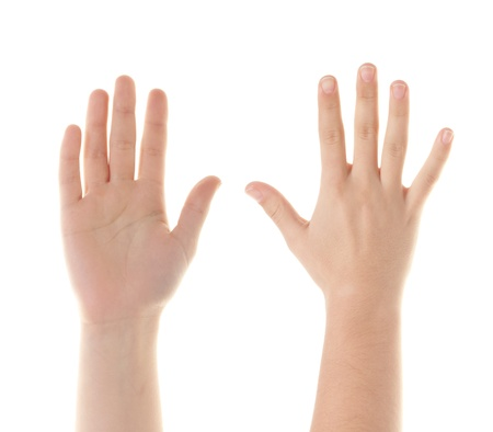 four person only: Female hands counting number 5  Stock Photo