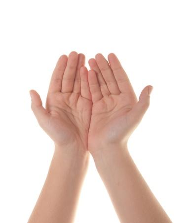 De open handen van een jonge vrouw