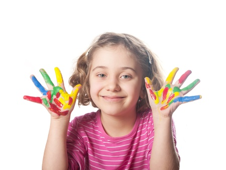 nurser: Happy child with colorful painted hands. Isolated.