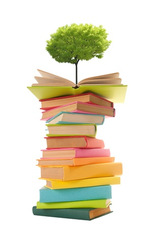 Tree growing from an open book  photo