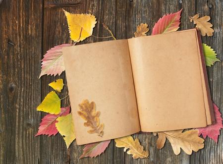 Herfstbladeren en oud boek op de tafel Stockfoto