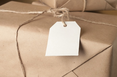 Paper box post package with blank note Stock Photo - 12534722