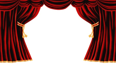 Isolated Red Draped Theater Curtains Series  photo