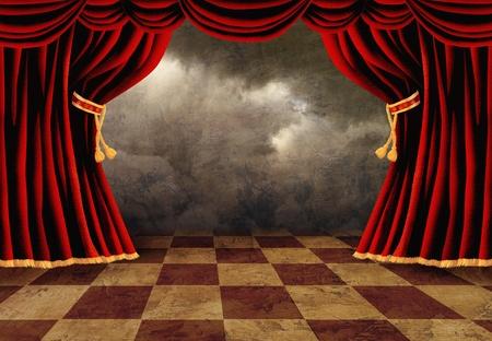 terciopelo rojo: Peque�o escenario con cortinas de terciopelo rojo del teatro