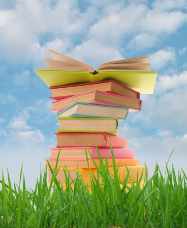 paperback book: Stack of books on the grass