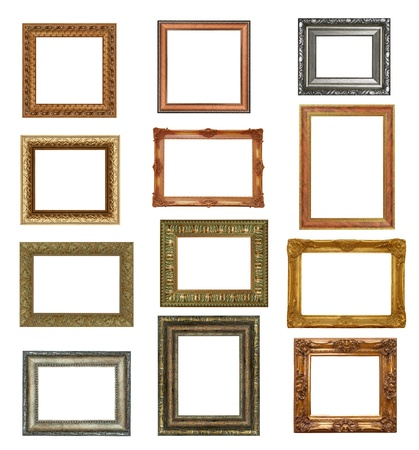 antique picture frames isolated on white . High resolution  photo