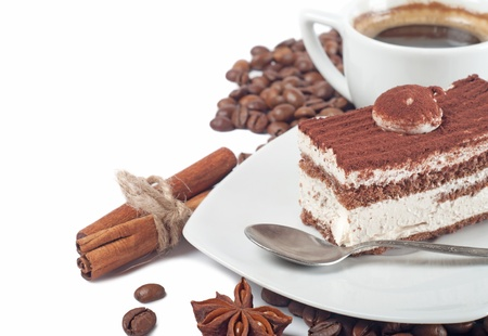Close-up of cup of coffee and chocolate cake