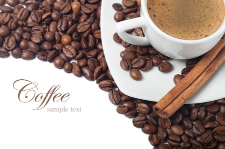 Coffee cup and grain on white background Stock Photo - 12537027