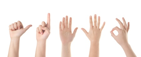 Set of five  different hand signs. Isolated on white. Stock Photo - 12537201