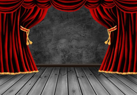 gold string: theater stage with red curtain Stock Photo