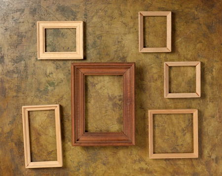 wooden photo frame on old wall Stock Photo - 12537132