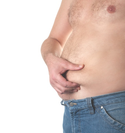 hairy male: Man holding his big fat belly isolated on white background