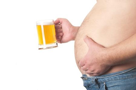 fatness: Man with beer mug