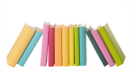 close up of stack of colorful books on white background  Stock Photo - 12537283