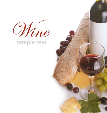 dine: a glass of red wine and grape over white (with sample text)  Stock Photo