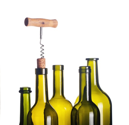 cork screw: background with wine bottles, corkscrew and cork Stock Photo