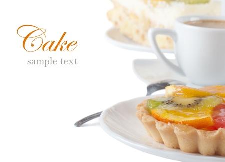 Fruit Cake en een kop koffie Stockfoto