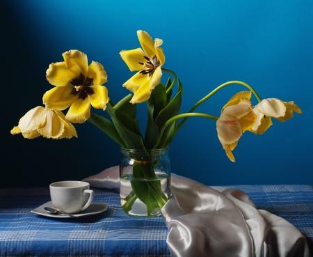 Stilleven met gele tulpen Stockfoto - 13338487