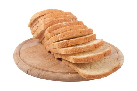 sliced bread on a board on a white background photo