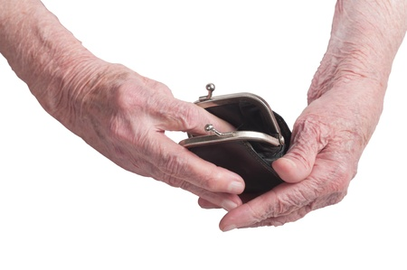 wallet in the hands of an old woman photo