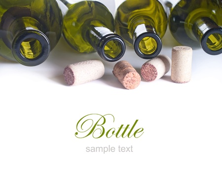 background with empty wine bottles and corks Stok Fotoğraf