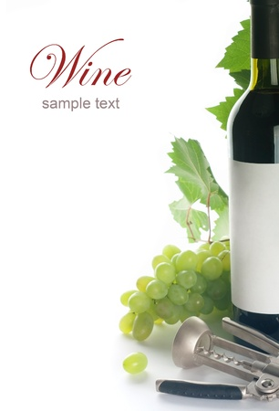grapes,wine bottle and a corkscrew on white background photo