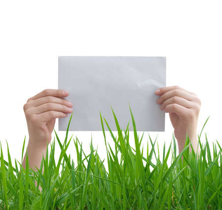 hands holding the paper Stock Photo - 14526149