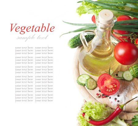 fresh vegetables and oil photo